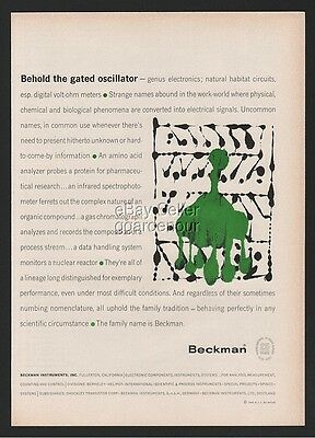 1960 Beckman Instruments Fullerton Gated Oscillator AWESOME Abstract Art Ad