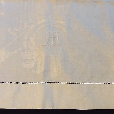 "Lovely DOUBLE DAMASK LINEN TOWEL Monogram M 44x24"" ROSES Excellent condition!"