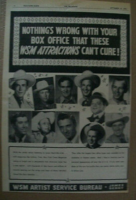 Hank Williams Hank Snow Roy Acuff 1951 Ad- WSM Artist Service Bureau James Denny