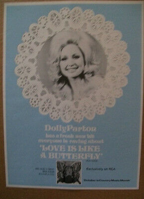 Dolly Parton 1974 Ad- Love Is Like a Butterfly RCA