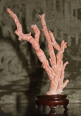 Vintage Chinese Genuine Orange Carved Branch Coral Kwan Quan Yin Figure Statue