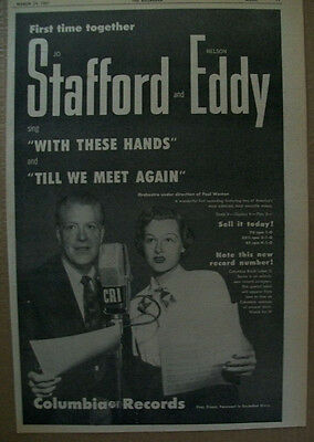 Jo Stafford and Nelson Eddy 1951 Ad- With These Hands/Till We Meet  Columbia
