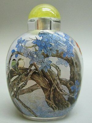 Chinese Inside-drawing Hand Painted Flower & Bird & Tree Pattern Snuff Bottle