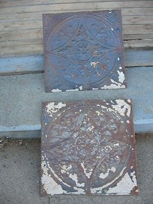 2 Vintage Reclaimed Ceiling Tin Tiles #A2