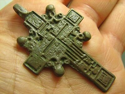 Late Medieval Period Big Bronze Cross Pendant.100% Wearable Artifact! #5994