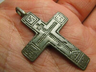 Late Medieval Period Big Bronze Cross Pendant.100% Wearable Artifact!#5991