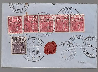 1937 Yala Thailand  Registered Airmail Cover to Australia Red Wax Seals