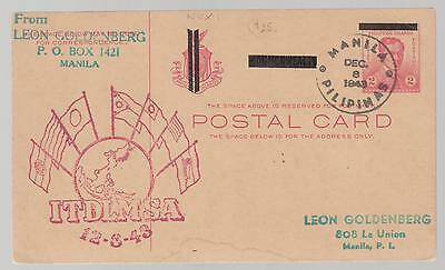 1943 Philippines Japan Occupation Postal Stationery Postcard Cover ITDLMSA