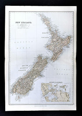 1883 Blackie Map - New Zealand - Auckland Wellington Canterbury Nelson Mahia