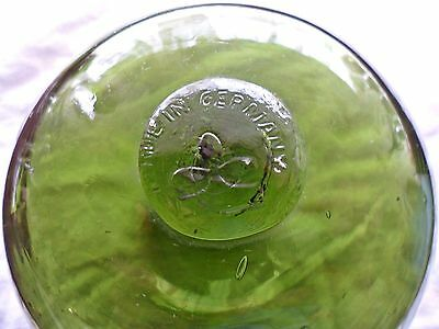 "Vintage 5"" Green Glass Fishing Float - Clover Mark ""Made In Germany"""