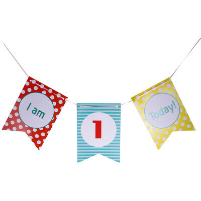 First/1st Birthday High Chair Decoration I Am 1 Today Boy Girl Banner Party Prop