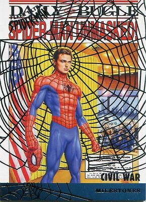 Spiderman Fleer Ultra 2017 Milestones Silver Web Chase Card M-8 Civil War