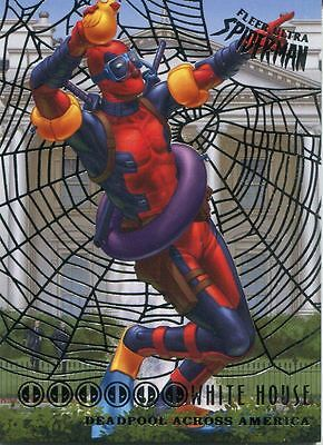 Spiderman Fleer Ultra 2017 Deadpool Across America Silver Web Chase Card DA6 Whi