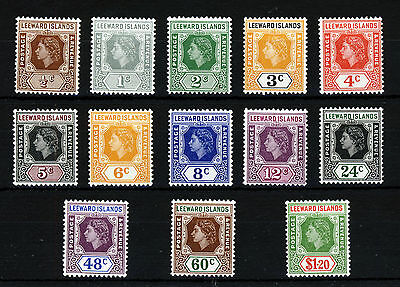 "LEEWARD ISLANDS QE II Definitive Set  ½c. WITH ""LOOP"" Flaw SG 126 to SG 138 MINT"