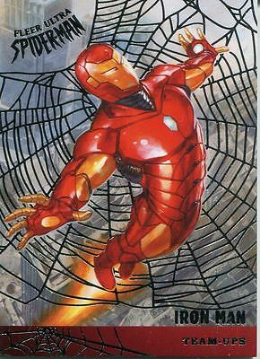 Spiderman Fleer Ultra 2017 Team Ups Silver Web Chase Card TU6 Iron Man