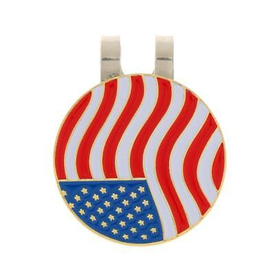Portable Metal USA Flag Magnetic Golf Ball Marker + Hat Clip Golfer Gift