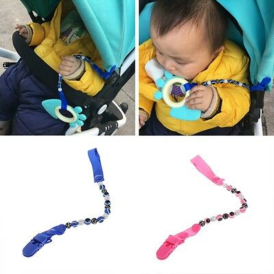 Baby Kids Beads Pacifier Clip Chain Blue Eyes Dummy Soother Strap Nipple Holder