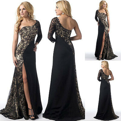 Women Long Formal Evening Party Ball Prom Gown Cocktail Dress Black
