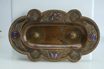 Antique French Champleve Enamel Gilt Copper Byzantine Tray or Stand