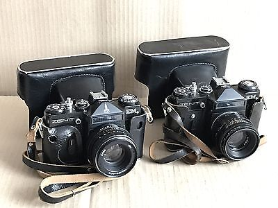 2x Vintage Zenit EM 35mm SLR Film Camera Body & 2x Helios 2/58 Lens - 44M & 44-2