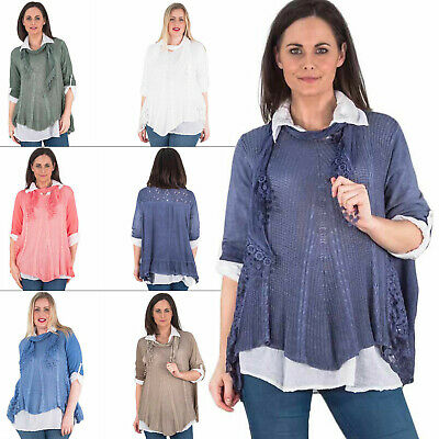 Womens Tunic Top Ladies Italian Lagenlook Scarf Fit Rolled Sleeves Collar Neck M
