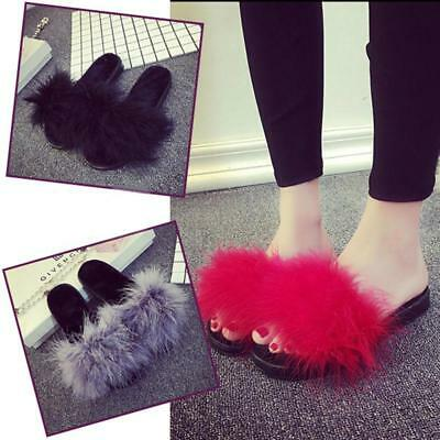 Women's Slip On Sandals Fur Slippers Fluffy Feather Sliders Slides Shoes LC