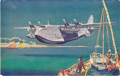 1930's Imperial Airways issued postcard of a Short Empire flying boat