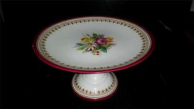 Antique Powell & Bishop Exquisitely Hand Painted Pedestal Cake Plate C 1867+
