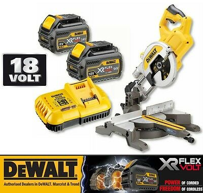 Dewalt DCS777T2 XR FlexVolt 54/18V Cordless Mitre Saw & 2 x 6.0Ah Batteries NEW