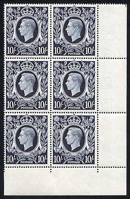 SG478 1939 10/- Dark Blue Square High Value U/M Block of Six