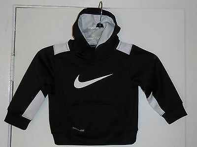 Toddler Boys Girls Nike Therma-Fit Black Long Sleeve Hoodie Pullover, Size 2T