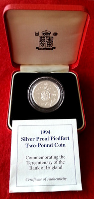 Uk 1994 Silver Proof Piedfort £2 Pounds Bank Of England Royal Mint Case & Coa