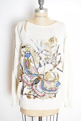 vintage 80s sweater white metallic embroidered butterfly jumper top shirt M L