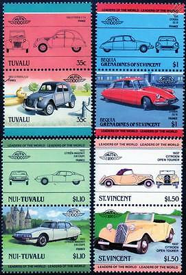 CITROEN Collection of 8 Car Stamps (Auto 100 / Leaders of the World)