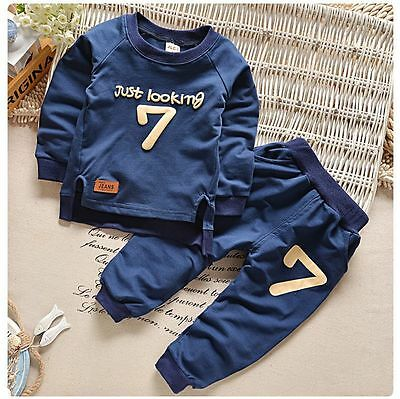 Toddler Kids Baby Boys Number 7 T-shirt Fleeces Tops+Pants Trousers Outfit Set