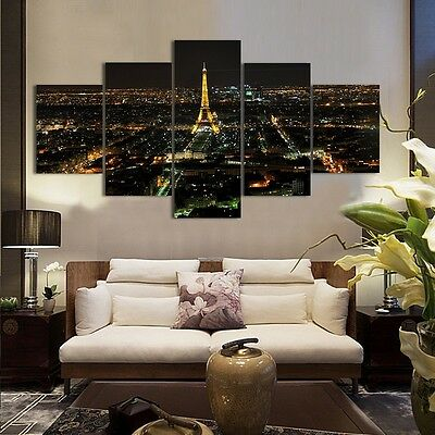 5pcs Eiffel Tower on Canvas Wall Art Painting Picture Home Decor Unframed