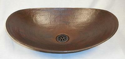 "17"" Oval Copper Sleigh Canoe Vanity Vessel  Sink with  Drain"