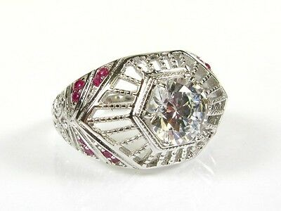Deco 2.25ctw White Stone & Lab Ruby Coated Platinum 925 FILIGREE Ring s7 155a