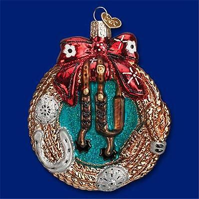 Western Wreath Old World Christmas Glass Country Themed Ornament Nwt 32207