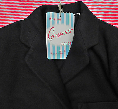 "Girls vintage black blazer UNUSED school uniform Chest 28"" 33"" Grosvenor 1950s"