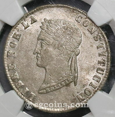 1854 NGC AU 58 BOLIVIA Silver 4 Soles Coin (16101403C)