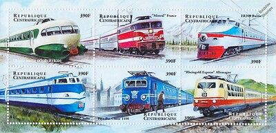 Electric Trains of the World/Railway Stamp Sheet (2000 Central African Republic)