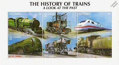 The History of Trains: A Look at the Past Railway Stamp Sheet (2001 Gambia)