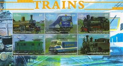 The World of Trains / Railway Locomotives Stamp Sheet (2001 Gambia)