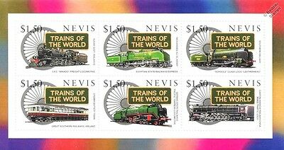 Trains of the World / Railway Locomotives Stamp Sheet (1997 Nevis)
