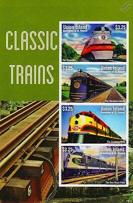 USA Classic Trains / Railway Locomotives Stamp Sheet (2014 Union Island)