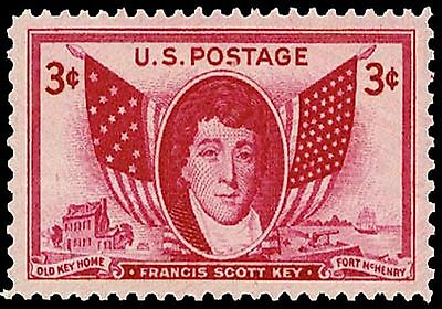 US Postage PHOTO MAGNET Francis Scott Key 1948 3 cents NOT A REAL STAMP