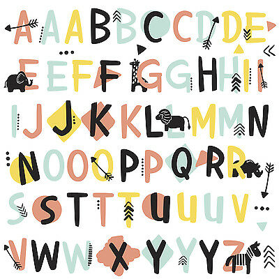 TRIBAL ALPHABET WALL DECALS 66 Alphabet Stickers Kids Toddler Baby Nursery Decor
