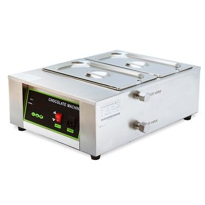 MIL Commercial 2-Tanks Chocolate Melting Warmer Temperer Electric Melter Machine