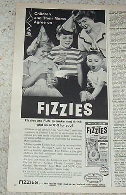 1960 advertising - FIZZIES sparkling drink CUTE BOYS girl party photo PRINT AD